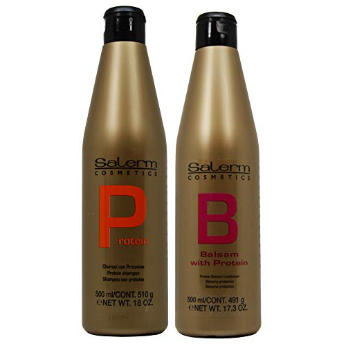 (Salerm Cosmetics Protein Shampoo and Protein Balsam Conditioner Duo Set (18ounce and 17.3ounce))