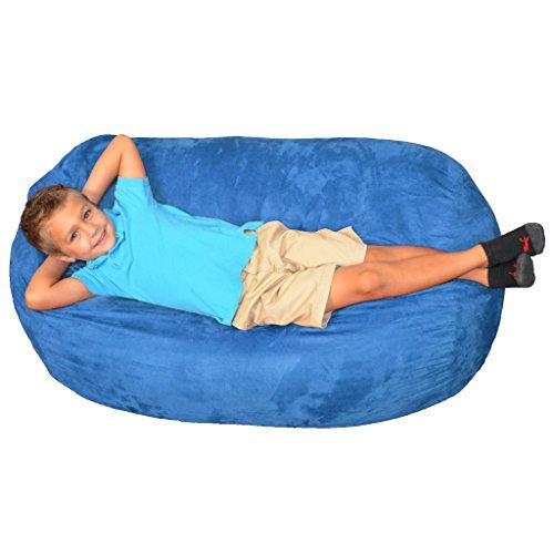 Kids Royal Chair (Comfy Sacks Kids Lounger Memory Foam Bean Bag Chair, Royal Blue Micro Suede)