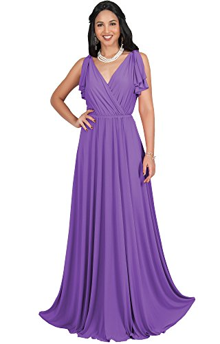6bfe22a235 5 · KOH KOH Womens Long V-Neck Sleeveless Flowy Prom Evening Wedding Party  Guest Bridesmaid Bridal