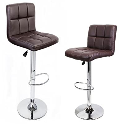 Eight24hours 2 Brown Modern Bar Stool PU Leather Adjustable Swivel Hydraulic Chair Counter