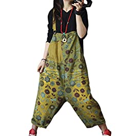 YESNO PDL Casual Loose Overalls Floral Jumpsuits Striped Contrast Color Low Crotch Pockets
