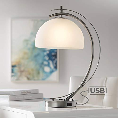 (Calvin Modern Desk Table Lamp with USB Charging Port Brushed Steel Curved Frosted Glass Dome Shade for Bedroom Office - Possini Euro Design)