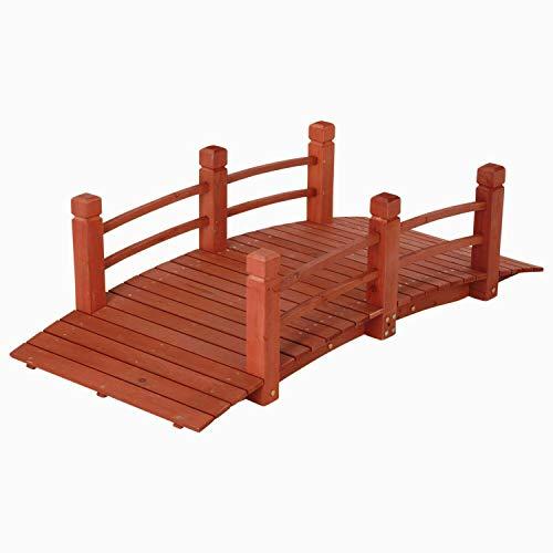 5 ft (59 in) Wooden Garden Bridge / Garden Stream Yard Walkway w/ Double Rails Product SKU: GD04211 (Wooden Garden Walkways For)
