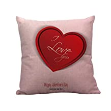 KMG Kimloog 18x18 Inch Happy Saint Valentine's Day Linen Sofa Cushion Pillow Covers Home Decaration Throw PillowCases