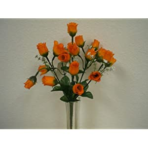 "4 Bushes ORANGE Mini Rose Buds Artificial Silk Flowers 12"" Bouquet 21-2601OR 81"