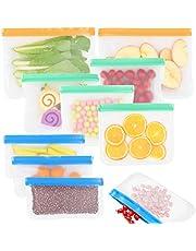 GINKGO Reusable Ziplock Bags (10 Pack), Thicken Reusable Sandwich/Snacks/Lunch Bags, Food Grade PEVA Biodegradable - Food Storage Bag for Food Marinate Meat Fruit Toiletries Food Preservation