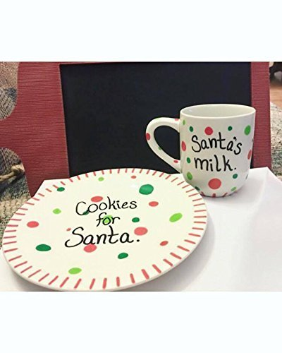 Santa's Cookies plate and Milk mug Christmas décor