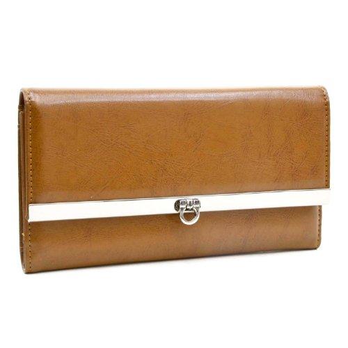 Dasein Women's Classic Tri-fold Plain Leather Like Checkbook Wallet Purse -Tan