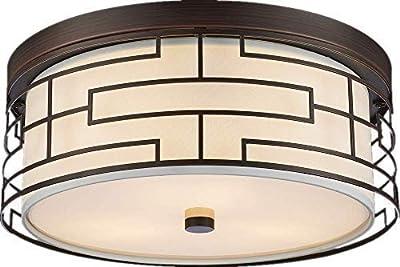Amabao, 3-Light Steel Art LED Flush Mount Light Fixture, Ceiling Light Fixture Bedroom, Living Room, Dining Room, Oil Rubbed Bronze, Bulbs Not Included