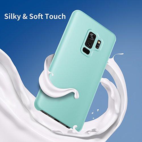 Funda Galaxy S9, Ranvoo Liquid Silicone Serie Samsung S9 Funda protectora Liquid Gel de sílice PC dura Funda suave de microfibra a prueba de golpes para el Samsung Galaxy S9 [Admite Cargador Inalámbri Verda Menta