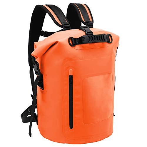 MIER Large Waterproof Backpack Roll Top Dry Bag for Kayaking, Boating, Rafting, Surfing, Swimming, Easy Access Front Zippered Pocket, Padded Back Support and Cushioned Adjustable Straps,40L,Orange