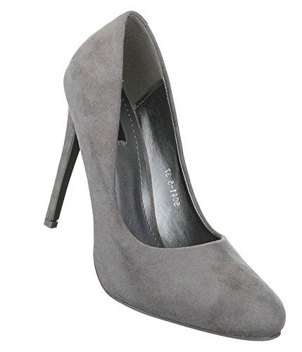 Damen Pumps Schuhe Elegant High Heels Grau