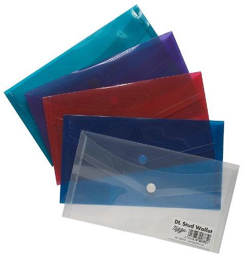 5 x DL (Envelope/Cheque) Stud Press Wallets Plastic Document Popper Folders Tiger Stationery