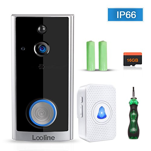 Video Doorbell Camera with Free 16GB Card Looline Security Camera-Smart Wireless Doorbell HD Waterproof IP66 and 166° Wide Angle App Control Two-Way Talk for Home Security by looline