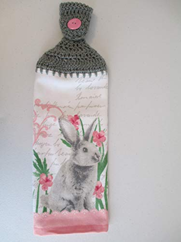 - Crocheted Easter Bunny Kitchen Towel with Grey Yarn