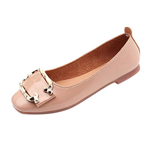 Round Toe Slip On, Clearance! Duseedik Women Shallow Square Buckle Low Heel Shoes Square Toe Single ()