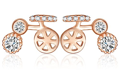 Simple Workplace Halloween Costumes (Infinite U Women's Unique Bike Bicycle 925 Sterling Silver Cubic Zirconia Studs Earrings Rose Gold)