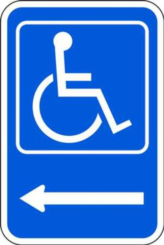 (ZING 2208 Eco Parking Sign, Handicapped, Left Arrow, 18Hx12W, Engineer Grade Prismatic, Recycled Aluminum)