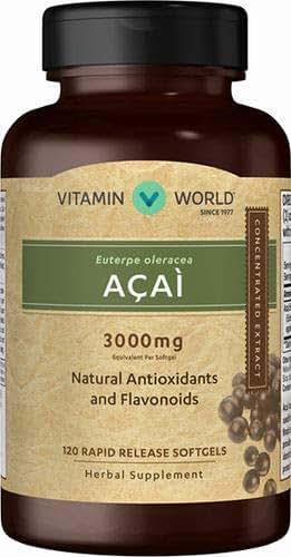 Vitamin World Acai 3000 mg Natural Antioxidants and Flavonoids, 120 Softgels