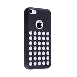 Cases For The iPhone 5C, [Rubber] iPhone 5C cases- [Designer] Mobile Phone Case 5c Soft Skin Case For The New iPhone 5C In Retail Package - Circle Colors - Dots Holes - Shell - Skin Cover Designed And Shipped From The USA By Cable and Case iPhone 5C (Black)