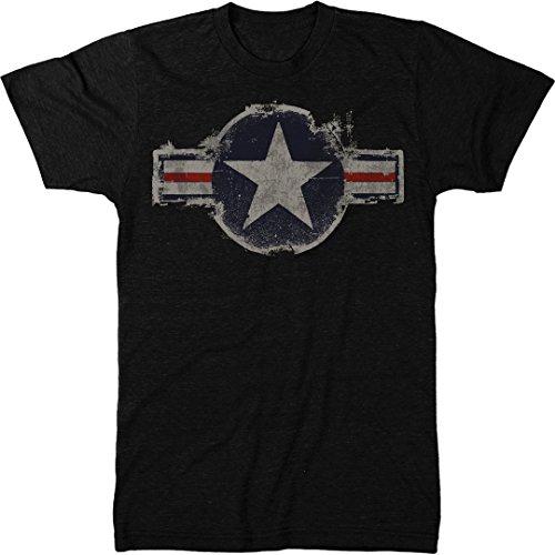 Vintage US Air Force Logo Men's Modern Fit Tri-Blend T-Shirt (Vintage Black, - Black Logo T-shirt Vintage