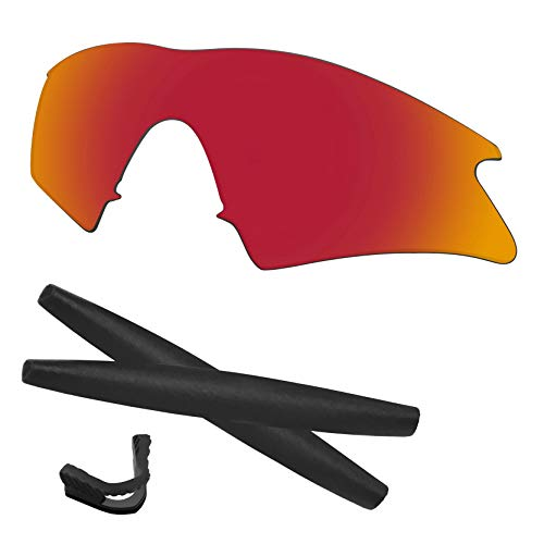 Predrox Red Mirror M Frame Sweep Lenses & Rubber Kits Replacement for Oakley Polarized