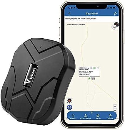 Rastreador GPS, localizador de GPS MUXAN Impermeable con Potente imán, 90 días de autonomía, posición de GPS en Espera para Seguimiento en Directo de Cars, posicionamiento preciso, antipitido.