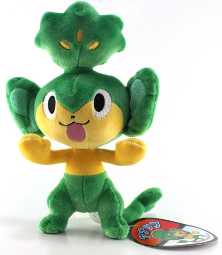 Pokemon Center Official Nintendo Black And White Plush Stuffed Toy - 7'' Yanappu/Pansage by Pokémon