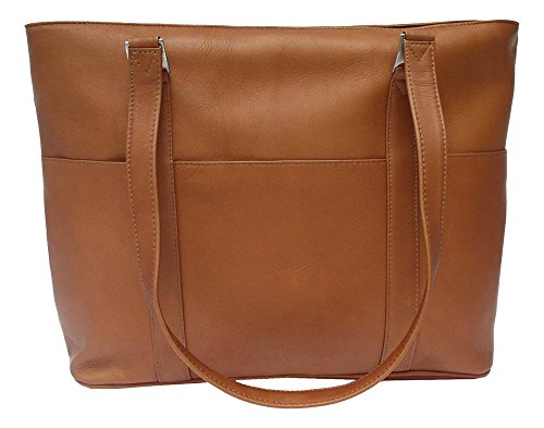 Tote Bag w Padded Laptop Compartment in Saddle by Piel Leather