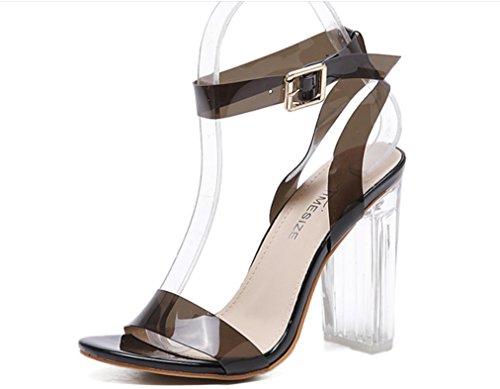 YCMDM Donne nuovo alto con tacco trasparente VENDITA CALDA scarpe rosa nero Albicocca 39 36 35 38 37 40 , black , 38