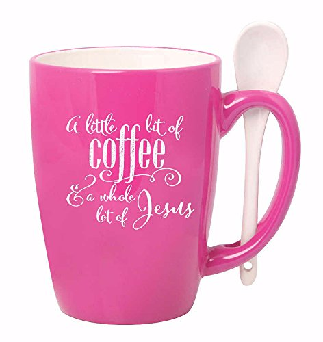 A Little Bit of Coffee & A Whole Lot of Jesus Pink 15 oz. Stoneware Coffee Mug with Spoon
