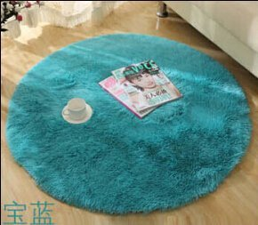 SVI Top Finel Hot High Quality Floor Mats Modern Shaggy Round Rugs and Carpets for Living Room Bedroom Carpet Rug for Home Yoga Mat blue 80cmx80cm