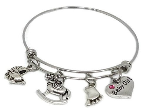 Baby Girl Stainless Steel Expandable Bracelet - Baby Shower Adjustable Charm Bangle - Gift New Mom - can be personalized with initial and swarovski birthstone