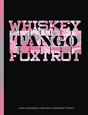 Camo Camouflage Composition Notebook for Women: Pink Whiskey Tango Foxtrot WTF Military College Ruled Book, Lined 100 pages (50 Sheets), 9 3/4 x 7 1/2 inches (Best Trendy Choices)