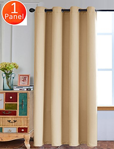 Yakamok Noise Reducing Blackout Curtains Formaldehyde-free Thermal Insulated Grommet Top Window Drape,1 Panel/ 52x63 Inch (Royal Beige)