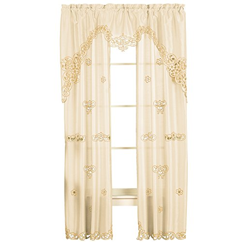 Collections Etc Elegant Scroll Silk Like Semi Private Rod Pocket 2 Panel Window Curtain Set, Cream, 84