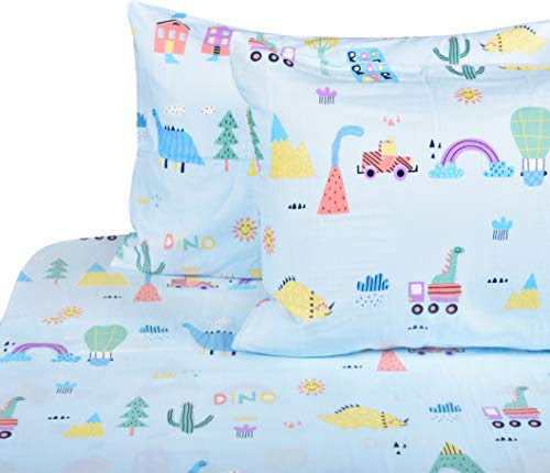 - J-pinno Dinosaur Forest Volcano Adventure Double Layer Muslin Cotton Bed Sheet Set Full, Flat Sheet & Fitted Sheet & Pillowcase Natural Hypoallergenic Bedding Set (11, Full)