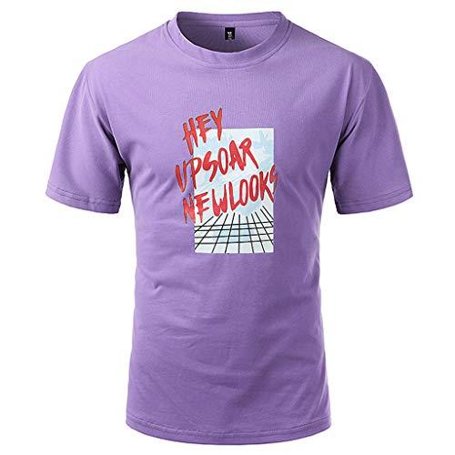 Men Summer Fashion World Printing T Shirt Leaf Short Sleeve Tops Casual Open Shirts Purple