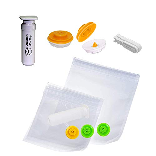 Jumbo Meal Prep Sous Vide Kit for Anova, Joule & Instant Pot Accessories - No Leaks or Vacuum Failure [Patented Design] - Works w/Any Zip Lock Bag - 5 Bags, 1 Pump, 3 Valves & 1 Sealing Clip