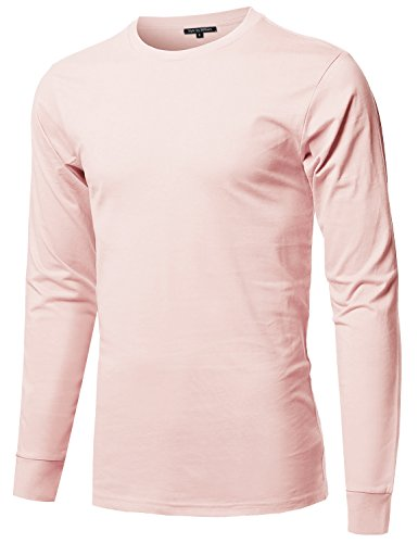 Style by William Causal Solid Basic 100% Ring Spun Cotton Long Sleeve T-Shirt Pale Pink XL