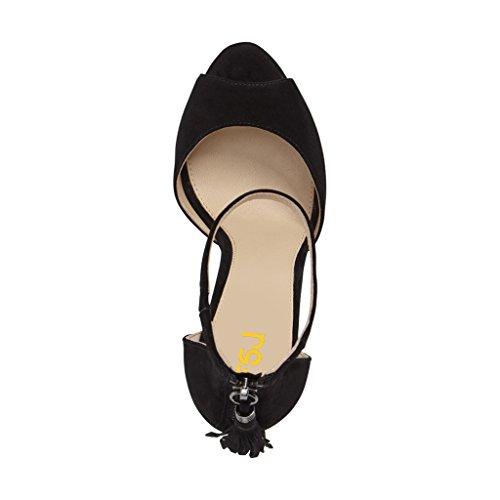 Kompani Kvinnor Peep Toe Ankelbandet Klackar Sandaler Stilett Chic Fransar Part Dorsay Skor Storlek 4-15 Oss Svart