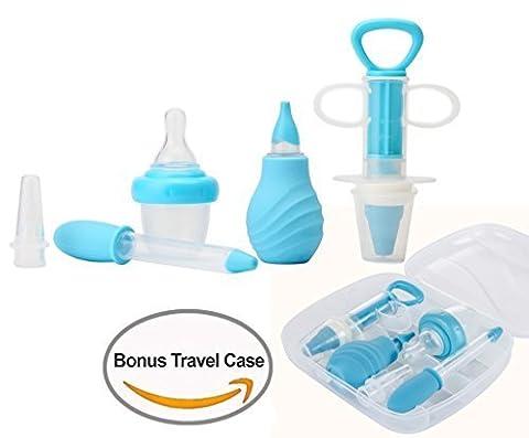 Kidsmile 6-Piece Medical Kit with Bonus Travel Case, Baby Infant Toddler BPA Free Medical Kit Medicine Dispenser, Sure-Dose Medicine Dropper / Infant Baby Essentials Kit Medicine Set - Blue