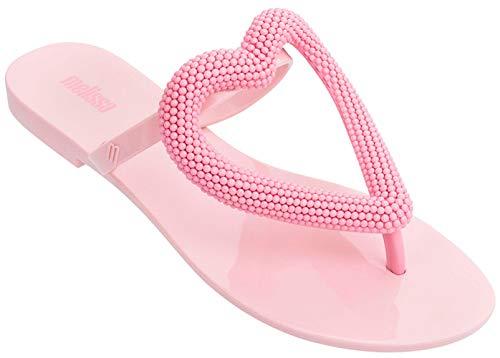 Melissa Womens Big Heart Flip Flop Slippers, Light Pink, Size 9