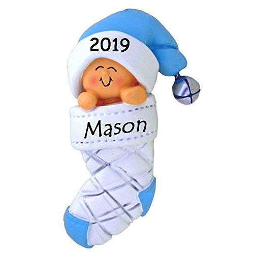Personalized 2019 Baby's First Christmas Blue Boy in Stocking with Santa Stocking Hat Cap Christmas Tree Ornament with Name