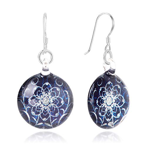 925 Sterling Silver Glass Jewelry Deep Blue Midnight Blossom Flower Dangle Round Earrings