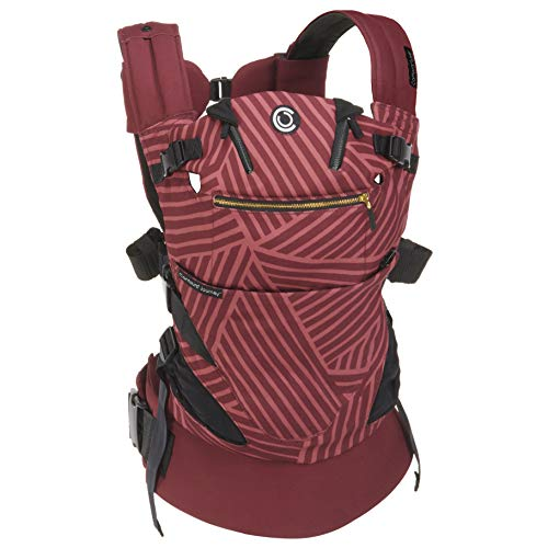 (Contours Journey 5-in-1 Baby Carrier, 5 Carrying Positions, No Infant Insert Required, Hip-Healthy, 3 Storage Pockets, Adjustable UPF 25 Sunshade, Comfortable Cotton & Jersey Mesh, Starburst Bordeaux )