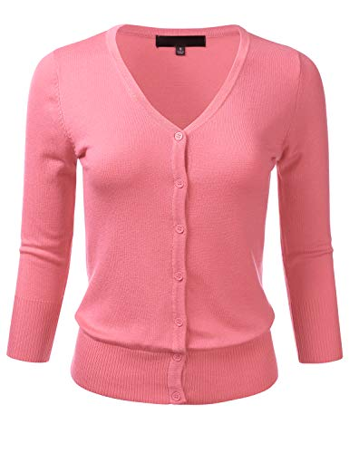 FLORIA Women's Button Down 3/4 Sleeve V-Neck Stretch Knit Cardigan Sweater Pink ()