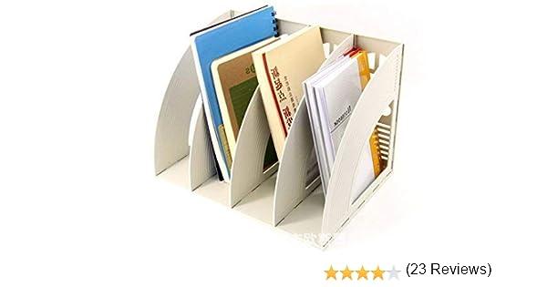 Recinto almacenamiento escritorio módulo índice 4*compartimentos estantería organizador caja almacenaje polipropileno porte-fichier clasificador para papel A4 Documento Carpeta revista cuaderno CD: Amazon.es: Oficina y papelería