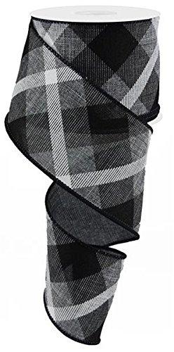 (Plaid Canvas Wired Edge Ribbon, 10 Yards (Grey, Black, White, 2.5