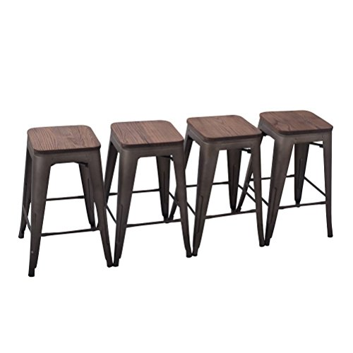 Yongchuang Metal Backless Counter Bar Stool for Indoor-Outdoor(Pack of 4) (24